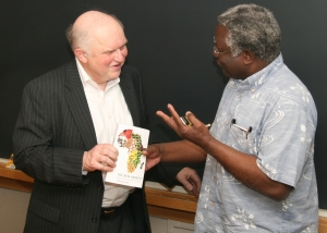 Leonard speaking with Calestous Juma, author of The New Harvest: Agricultural Innovation in Africa, at Harvard University